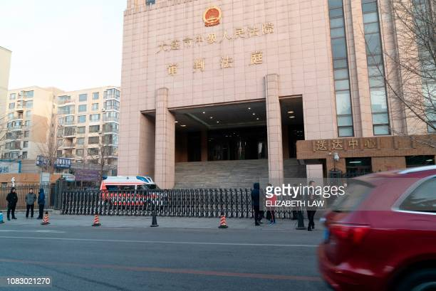 This photo taken on January 14 2019 shows the Dalian Intermediate People's Court before the retrial of Canadian Robert Lloyd Schellenberg on drug...