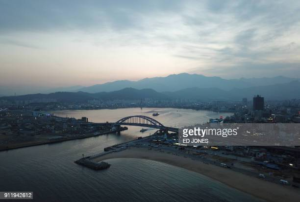 """This photo taken on January 15, 2018 shows a general view of """"Abai village"""", a settlement originally created by North Korean refugees displaced..."""