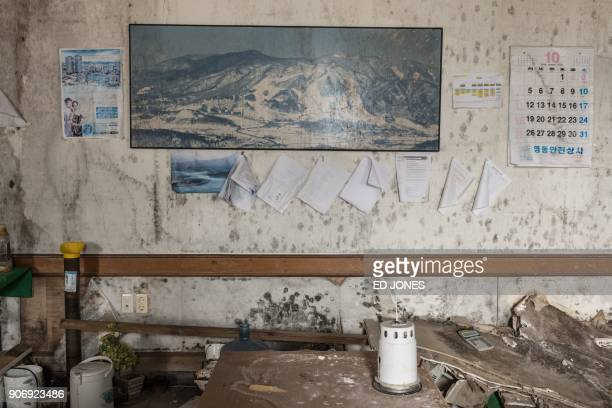 TOPSHOT This photo taken on January 16 2018 shows a poster on the wall of an office at the abandoned Alps Ski Resort a former holiday destination in...