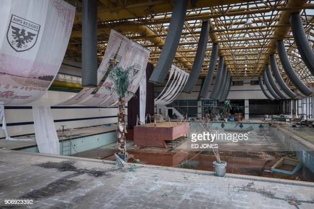 This photo taken on January 16 2018 shows a swimming pool at the abandoned Alps Ski Resort a former holiday destination in South Korea's far...
