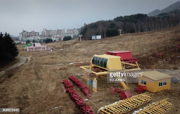 TOPSHOT This photo taken on January 16 2018 shows ski lifts near the abandoned Alps Ski Resort a former holiday destination in South Korea's far...