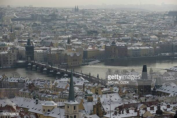 This photo taken on January 24 2011 from the Saint Vitus Cathedral shows the Charles Bridge connecting the Old Town quarter and Mala Strana or Lesser...