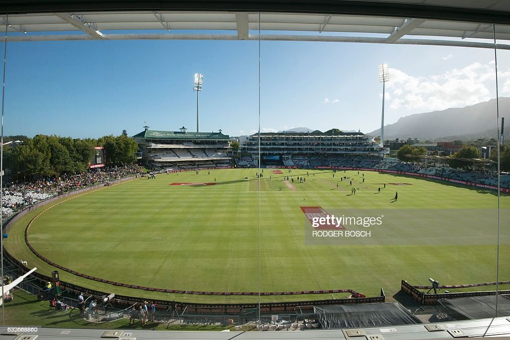 This photo taken on January 25, 2017 in Cape Town shows the Newlands Cricket Stadium before the start of the T20 cricket match between South Africa and Sri Lanka. This is the deciding match as each...