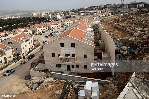 This photo taken on January 25 2017 shows a partial view of the Israeli settlement of Ariel near the West Bank city of Nablus on January 25 2017...
