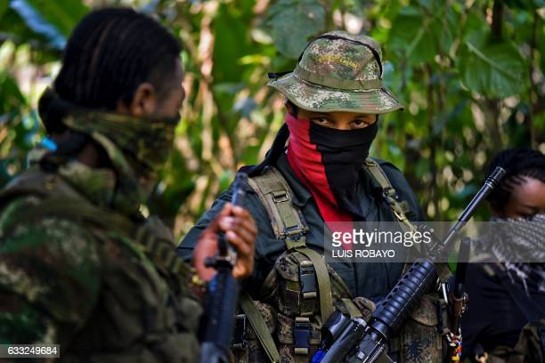 This photo taken on January 26 2017 shows Danilo Hernandez commander of the Western Front of War Cimarron Resistance of the National Liberation Army...