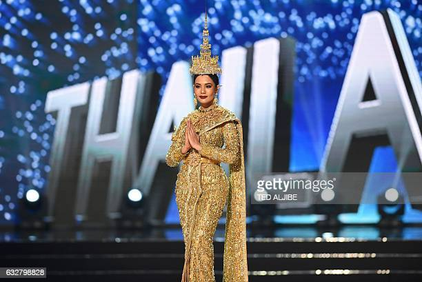 This photo taken on January 26 2017 shows Miss Universe contestant Chalita Suansane of Thailand during the national costume presentation in the...