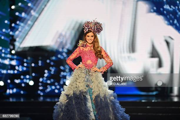 This photo taken on January 26 2017 shows Miss Universe contestant Caris Tiivel of Australia during the national costume presentation in the...