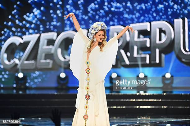 This photo taken on January 26 2017 shows Miss Universe contestant Andrea Bezdecova of Czech Republic during the national costume presentation in the...