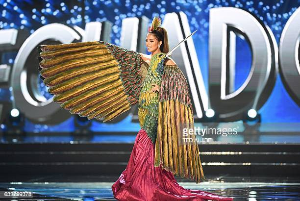 This photo taken on January 26 2017 shows Miss Universe contestant Connie Jimenez of Ecuador during the national costume presentation in the...