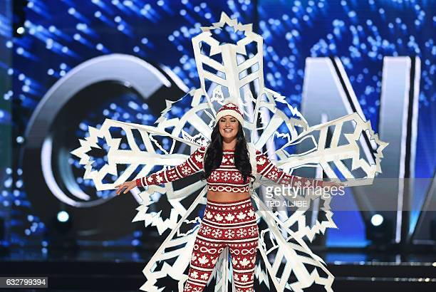 This photo taken on January 26 2017 shows Miss Universe contestant Siera Bearchell of Canada during the national costume presentation in the...
