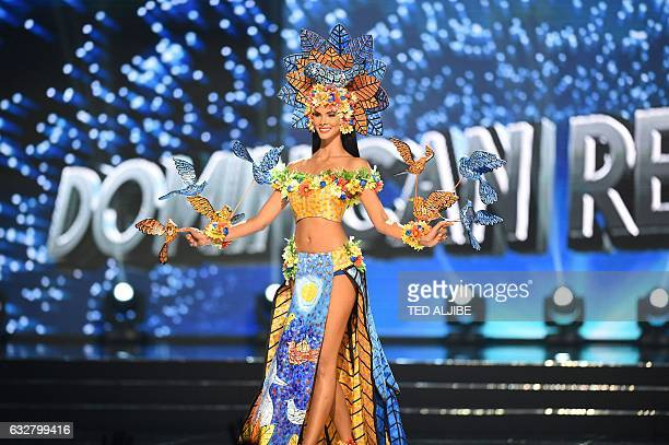 This photo taken on January 26 2017 shows Miss Universe contestant Sal Garcia of Dominican Republic during the national costume presentation in the...