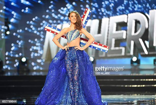 This photo taken on January 26 2017 shows Miss Universe contestant Zoey Ivory of the Netherlands during the national costume presentation in the...
