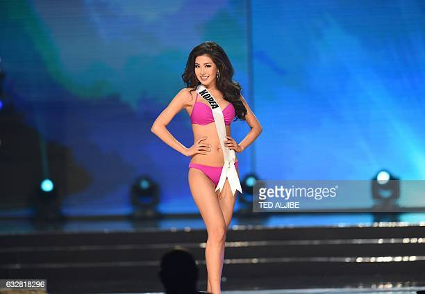 This photo taken on January 26 2017 shows Miss Universe contestant Jenny Kim of South Korea in her swimsuit during the preliminary competition of the...