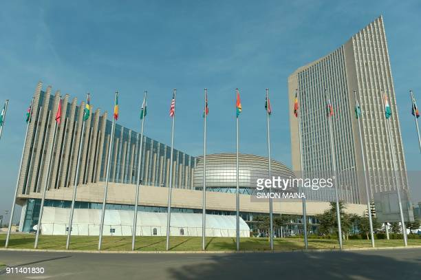 This photo taken on January 28 2018 shows the African Union headquarters in Addis Ababa during the opening of the Ordinary Session of the Assembly of...