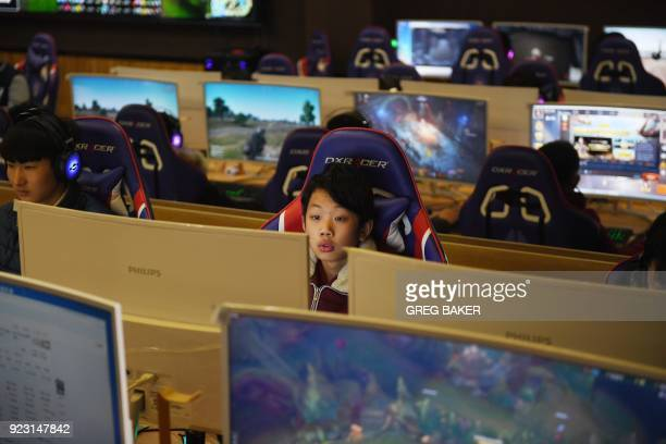 This photo taken on January 29 2018 shows a student using a computer in an eSports class at the Lanxiang technical school in Jinan in China's eastern...
