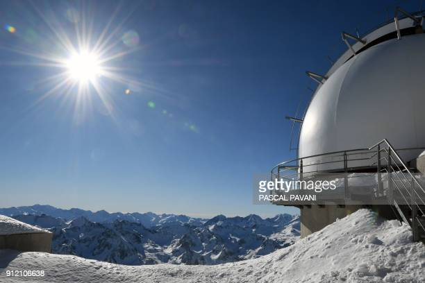 This photo taken on January 30 2018 shows a view of the Pyrenees mountains from the Observatory of the Pic du Midi one of France's tallest mountains...
