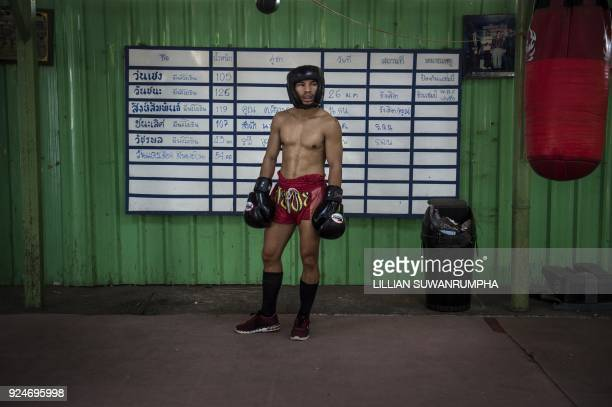 This photo taken on January 31 2018 shows the current World Boxing Council miniflyweight champion Wanheng Menayothin waiting to spar during a...