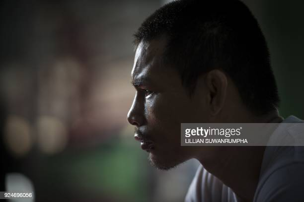This photo taken on January 31 2018 shows the current World Boxing Council miniflyweight champion Wanheng Menayothin sitting for an interview before...