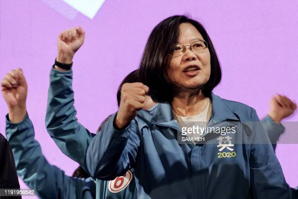 This photo taken on January 5 2020 shows Taiwan's President and presidential candidate from the ruling Democratic Progressive Party Tsai Ingwen...