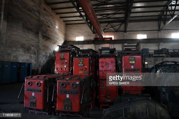 This photo taken on January 8 2020 shows equipment in a shed at the Datai coal mine in Mentougou west of Beijing