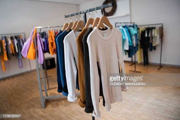This photo taken on July 10 2020 shows Sugar manufactured clothes in the Sugar clothes brand show room in Marseille south of France The brand works...