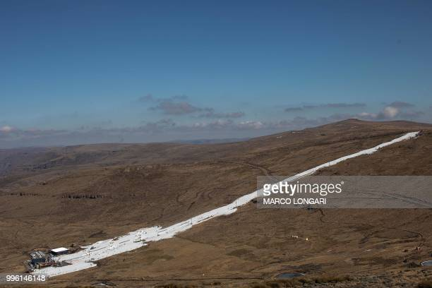 This photo taken on July 11 2018 shows the area of the Lesotho Kingdom ski resort Afriski in the Maluti Mountains Nestled high in the mountains of...