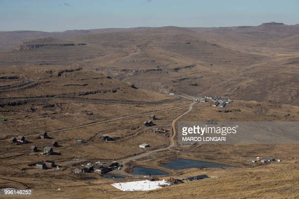 This photo taken on July 11 2018 shows the beginners slope at the Lesotho Kingdom ski resort Afriski in the Maluti Mountains Nestled high in the...