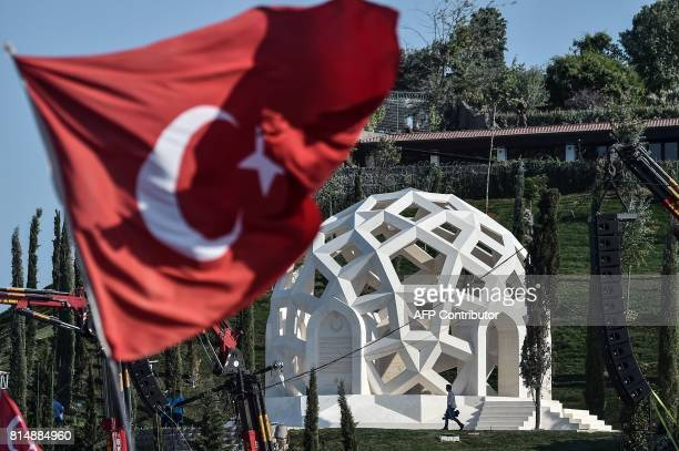 This photo taken on July 15 2017 in Istanbul shows the July 15 Martyrs Memorial The authorities have declared July 15 an annual national holiday of...