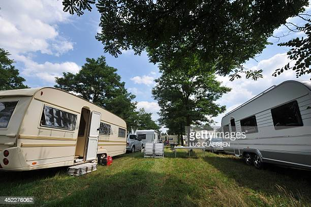 This photo taken on July 17 2014 shows a campsite of Roma travelers at the Molenpark industrial site in Overpelt The Mayor of the Belgian town of...
