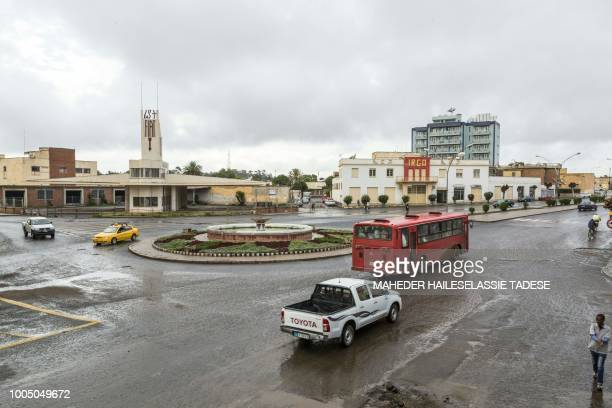 This photo taken on July 20, 2018 shows a roundabout in the Eritrean capital of Asmara. - Located at over 2000 metres above sea level, the capital of...