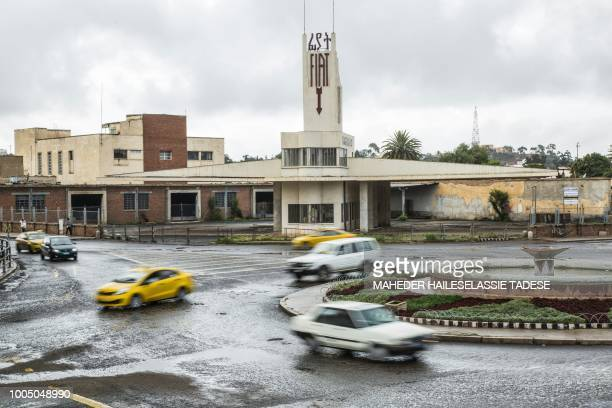 This photo taken on July 21, 2018 shows a roundabout of the Eritrean capital Asmara. - Located at over 2000 metres above sea level, the capital of...