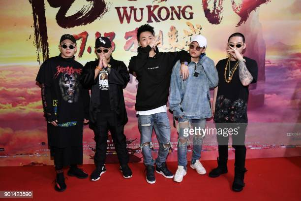 This photo taken on July 9 2017 shows Chinese rapper PG One posing for a picture during the premiere of the movie 'Wu Kong' in Beijing After drawing...