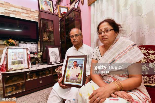 This photo taken on July 9 2018 shows Gopal Chandra Das and Radhika Das parents of lynching victim Nilotpal Das speaking to journalists at their...