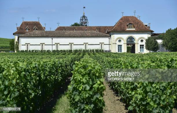 This photo taken on July 9 2018 shows the Chateau Angelus in Saint Emilion near Bordeaux The Chateau Angelus is a wine estate in Saint Emilion...