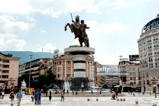 This photo taken on June 10 shows the monument of King Alexander the Great in the center of Skopje Macedonia's history textbooks now look set for...