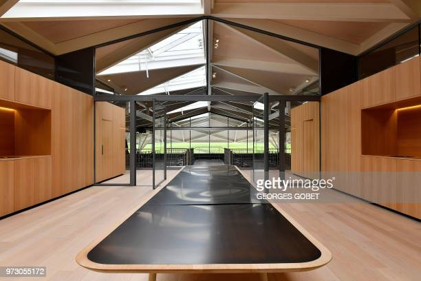 This photo taken on June 11 2018 shows the Chateau Margaux' wine tasting room by Norman Foster in Margaux near Bordeaux western France The Chateau...