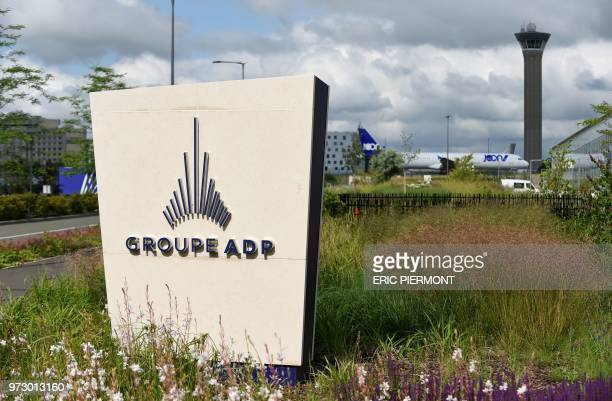 This photo taken on June 14 2018 shows the logo of the ADP group in front of the headquarters in TremblayenFrance near Roissy airport Bruno Le Maire...