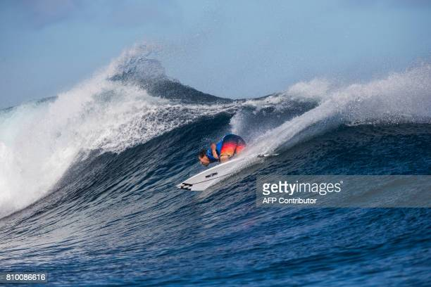 This photo taken on June 15 2017 shows Joel Parkinson of Australia during the semifinals of the OuterKnown Fiji Pro surfing competition at Tavarua...
