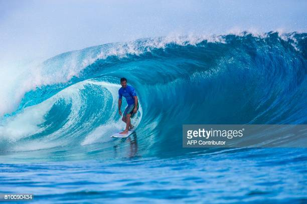 This photo taken on June 15 2017 shows Michel Bourez of France during the semifinals of the OuterKnown Fiji Pro surfing competition at Tavarua Island...