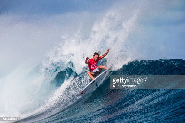 This photo taken on June 15 2017 shows winner Matt Wilkinson of Australia in the finals of the OuterKnown Fiji Pro surfing competition at Tavarua...