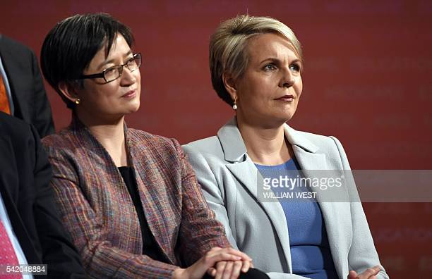 This photo taken on June 19 show Tanya Plibersek the Australian Labor Party deputy leader and shadow minister for foreign affairs with Senator Penny...