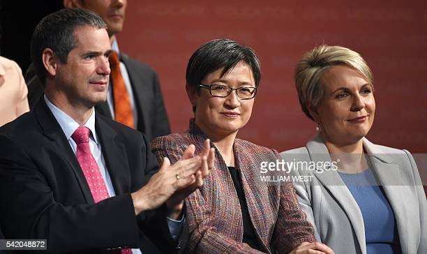 This photo taken on June 19 shows Senator Penny Wong shadow minister for trade and investment Senator Stephen Conroy shadow minister for defence and...