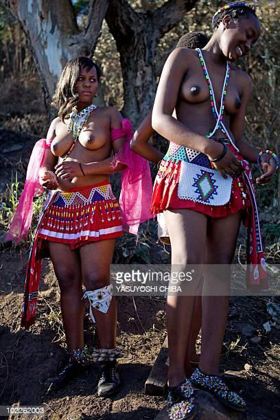 This photo taken on June 20 2010 shows an unmarried Zulu girl attending an engagement ceremony in the village of Inanda north of Durban in...