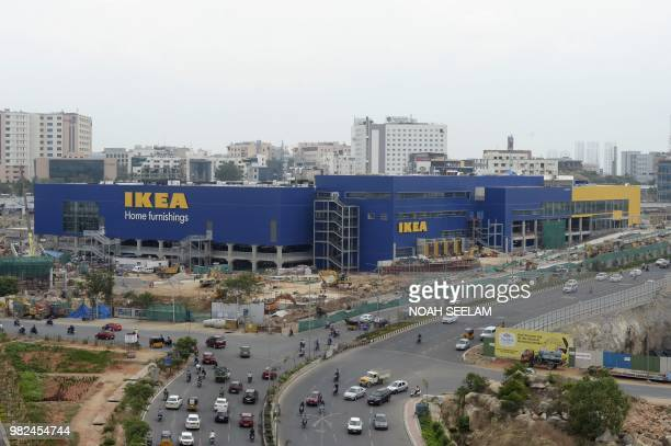 This photo taken on June 22 2018 shows the underconstruction site of an IKEA store in Hyderabad Furniture giant Ikea is set to open its first store...
