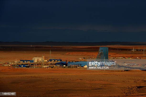 This photo taken on June 23 2012 shows the first underground mine shaft at the Rio Tinto operated Oyu Tolgoi gold and copper mine in the Gobi desert...