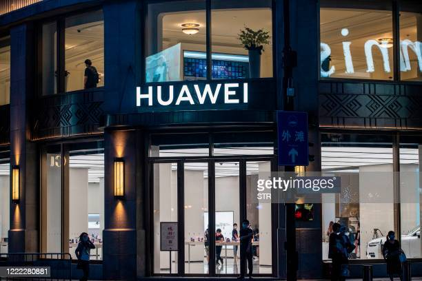 This photo taken on June 23, 2020 shows a Huawei global flagship store ahead of its opening in Shanghai. - Chinese telecoms giant Huawei opened the...