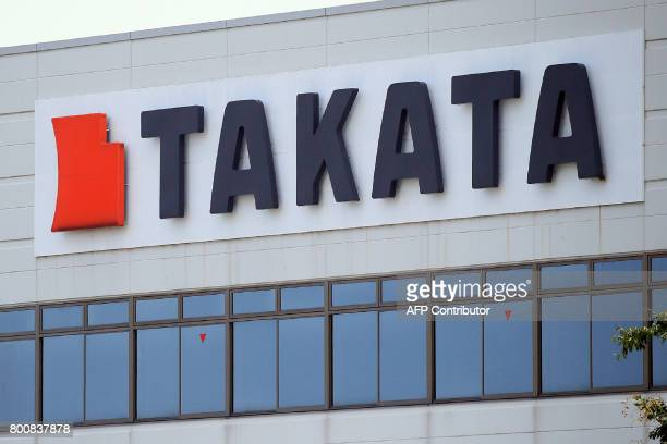 This photo taken on June 24 2017 shows the logo of Japan's car parts giant Takata in the town of Aisho in Shiga prefecture Japan's crisishit airbag...