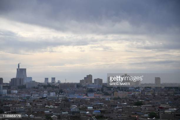 This photo taken on June 3, 2019 shows a view of Kashgar, in China's western Xinjiang region. - In China's Xinjiang, a northwest region tightly...