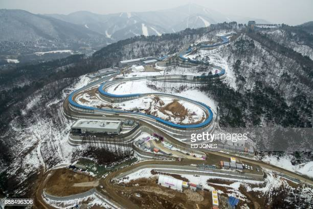 This photo taken on March 1 2017 shows a general view of the underconstruction bobsleigh venue for the 2018 Winter Olympic Games in Pyeongchang / AFP...