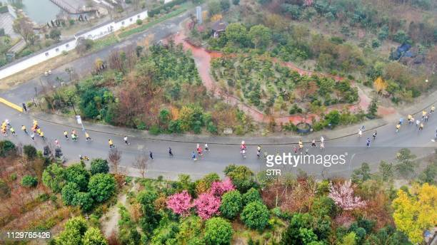 This photo taken on March 10 2019 shows an aerial view of runners taking part in the 2019 Rugao International Marathon in Nantong in China's eastern...